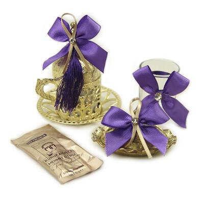 Diğer - Süslemeli Damat Kahve Fincanı Seti Mor Gold