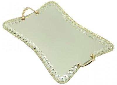 Diğer - Swarovski Taşlı Ayna Tabanlı Kelebek Söz ve Nişan Tepsisi Gold