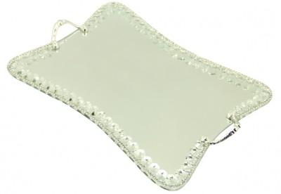 Diğer - Swarovski Taşlı Ayna Tabanlı Kelebek Söz ve Nişan Tepsisi Gümüş