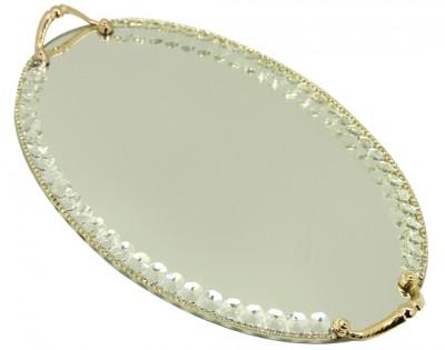 Diğer - Swarovski Taşlı Ayna Tabanlı Oval Söz ve Nişan Tepsisi Gold