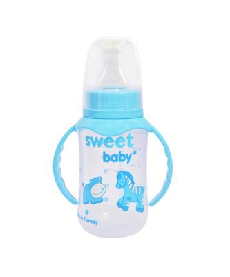 Sweet Baby - Sweet Baby Kulplu Desenli Yenidoğan Biberon 150ml Mavi