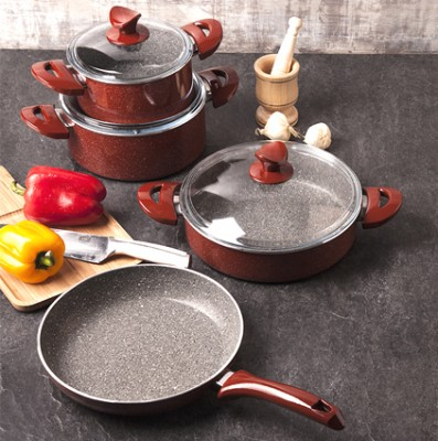 Taç Mutfak - Taç Enjoy Granit 7 Parça Lüx Tencere ve Tava Seti