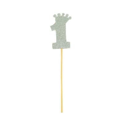 Diğer - Taç Figürlü Simli Eva Çubuklu 1 Rakamı Gümüş