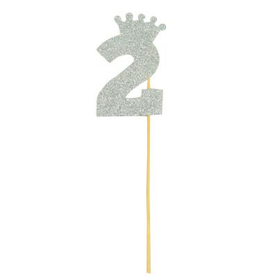 Diğer - Taç Figürlü Simli Eva Çubuklu 2 Rakamı Gümüş