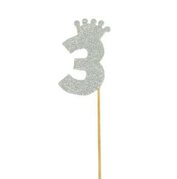 Taç Figürlü Simli Eva Çubuklu 3 Rakamı Gümüş