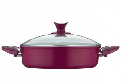 Taç Mutfak - Taç Pro Granit Basık Tencere Fuşya 30cm