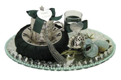 Diğer - Taşlı Tepsili Yeşil Süslemeli Damat Fincan Takımı