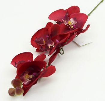 Tek Dal Yapay Orkide Çiçeği Kırmızı