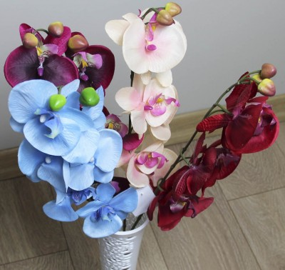 Tek Dal Yapay Orkide Çiçeği Kırmızı - Thumbnail