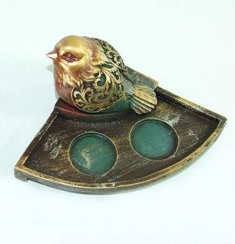 Tek Kuş Figürlü 2 Bölmeli Tea Light Mumluk Petrol Yeşili