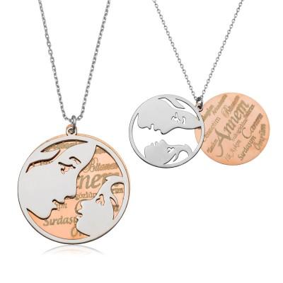 Tekbir Silver - Tekbir Silver Rose Kaplama Gümüş Anneler Günü Kolyesi