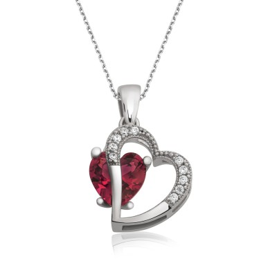 Tekbir Silver - Tekbir Silver Zirkon Taşlı Kalbimdeki Aşk Gümüş Kolye