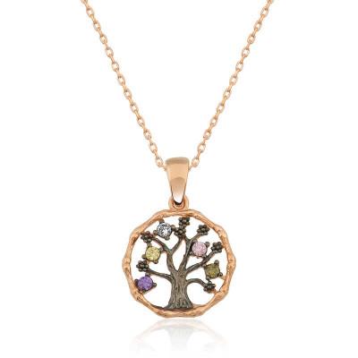 Tekbir Silver - Tekbir Silver Zirkon Taşlı Rose Kaplama Hayat Ağacı Gümüş Kolye