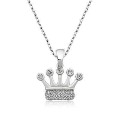 Tekbir Silver - Tekbir Silver Zirkon Taşlı Taç Gümüş Kolye