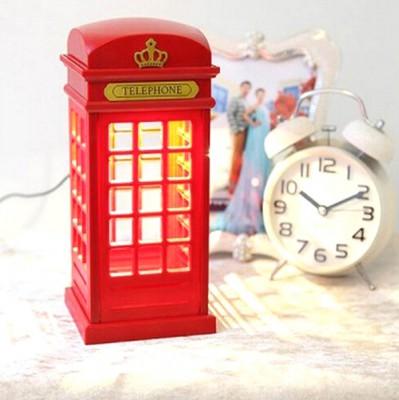 Telefon Kulübesi Şeklinde Şarjlı Dokunmatik Gece Lambası - Thumbnail