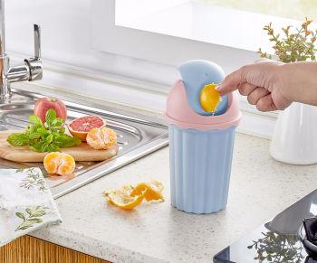 Tezgah Üstü Oynar Kapaklı Mini Çöp Kovası 1500ml