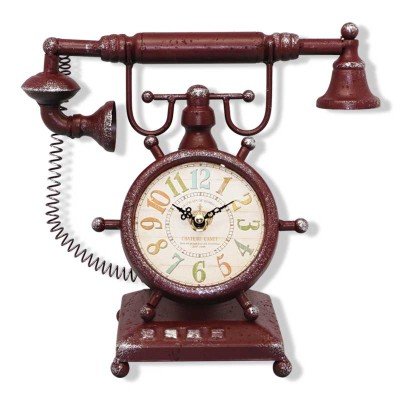 Time Gold - Time Gold Antika Telefon Tasarımlı Masa Saati Bordo