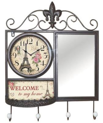 Time Gold - Time Gold Ataköy Welcome To My Home Yazılı Anahtarlık Askılı ve Aynalı Duvar Saati