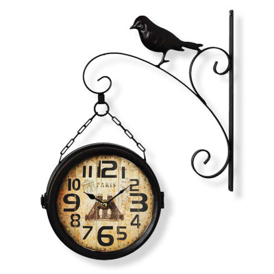 Time Gold - Time Gold Avşa İstasyon Kuş Motifli Yuvarlak Duvar Saati Siyah