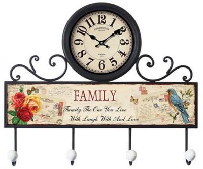 Time Gold - Time Gold Beyoğlu Family Yazılı Anahtarlık Askılı Duvar Saati