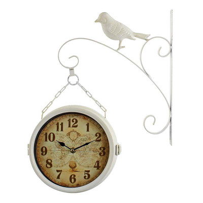 Time Gold - Time Gold Burgaz İstasyon Kuş Motifli Yuvarlak Duvar Saati Beyaz