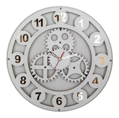 Time Gold - Time Gold Çarklı Akar Saniye Ahşap Duvar Saati 40cm