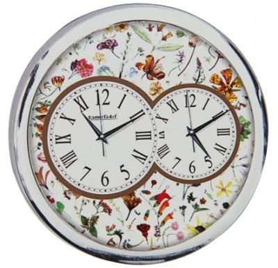 Time Gold - Time Gold Çiçek Motifli Yuvarlak Gerçek Cam Metalize Duvar Saati