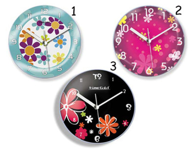 Time Gold - Time Gold Çiçek Motifli Yuvarlak Mıknatıslı Buzdolabı Saati 10cm