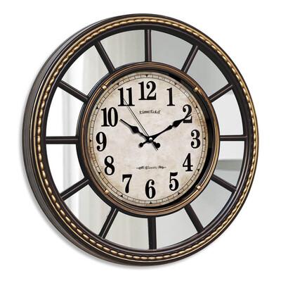 Time Gold - Time Gold Dekoratif Ayna Çerçeveli Akar Saniye Duvar Saati