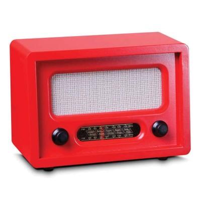 Time Gold - Time Gold Dekoratif Nostaljik Ahşap Radyo Kırmızı 15x10cm