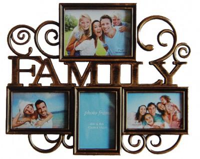 Time Gold - Time Gold Family Yazılı 4 Bölmeli Fotoğraf Çerçevesi 39x47cm