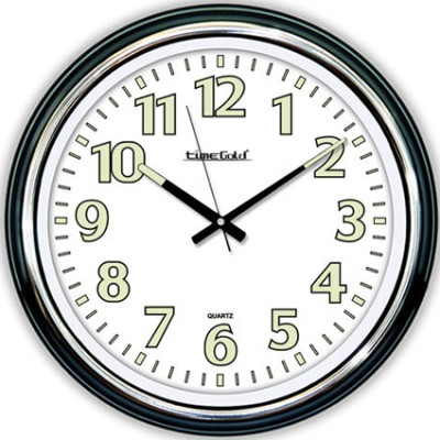 Time Gold - Time Gold Fosforlu Yuvarlak Cam Duvar Saati