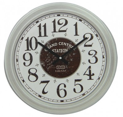 Time Gold - Time Gold Grand Central Station Yazılı Yuvarlak Gerçek Cam Duvar Saati Beyaz
