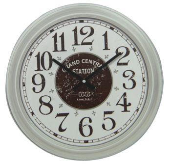 Time Gold Grand Central Station Yazılı Yuvarlak Gerçek Cam Duvar Saati Beyaz