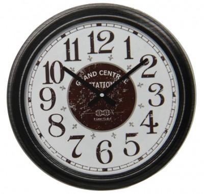 Time Gold - Time Gold Grand Central Station Yazılı Yuvarlak Gerçek Cam Duvar Saati Siyah