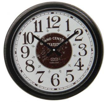 Time Gold Grand Central Station Yazılı Yuvarlak Gerçek Cam Duvar Saati Siyah
