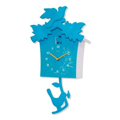 Time Gold - Time Gold Guguklu Kuş Ev Tasarımlı Plastik Gövde Duvar Saati Mavi
