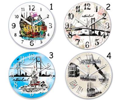 Time Gold - Time Gold İstanbul Manzaralı Yuvarlak Mıknatıslı Buzdolabı Saati 10cm