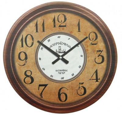 Time Gold - Time Gold İstanbul Yazılı Yuvarlak Gerçek Cam Duvar Saati
