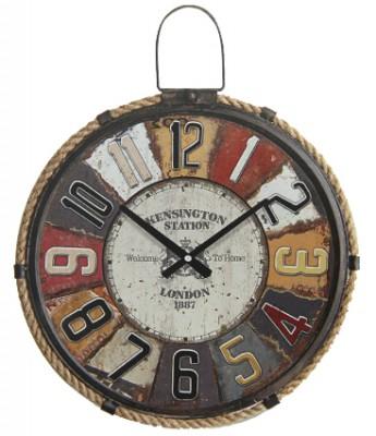 Time Gold - Time Gold London Yazılı Yuvarlak Gerçek Cam Metal Duvar Saati