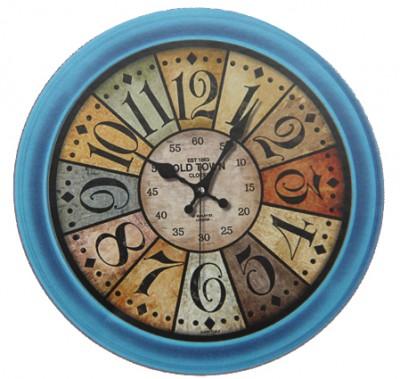 Time Gold - Time Gold Old Town Yazılı Yuvarlak Gerçek Cam Eskitme Duvar Saati 35cm