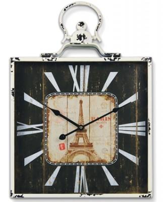 Time Gold - Time Gold Paris Motifli Gerçek Cam Metal Duvar Saati