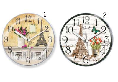 Time Gold - Time Gold Paris Motifli Yuvarlak Mıknatıslı Buzdolabı Saati 10cm