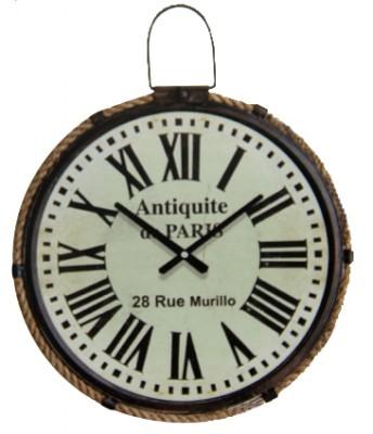 Time Gold - Time Gold Paris Yazılı Romen Rakamlı Yuvarlak Gerçek Cam Metal Duvar Saati