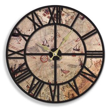 Time Gold Piri Reis Romen Rakamlı Eskitme Duvar Saati
