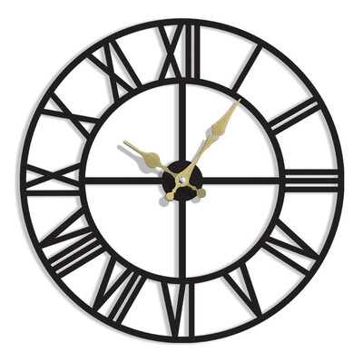 Time Gold Romen Rakamlı Akar Saniye Duvar Saati - Thumbnail