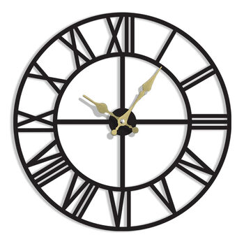 Time Gold Romen Rakamlı Akar Saniye Duvar Saati