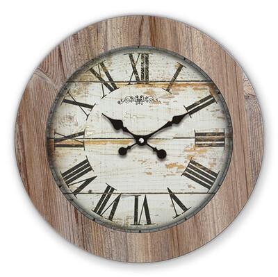 Time Gold - Time Gold Romen Rakamlı Beyaz Eskitme Ilgaz Ahşap Duvar Saati