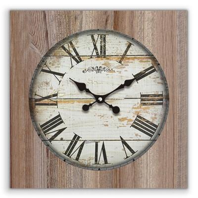 Time Gold - Time Gold Romen Rakamlı Beyaz Uludağ Ahşap Kare Duvar Saati