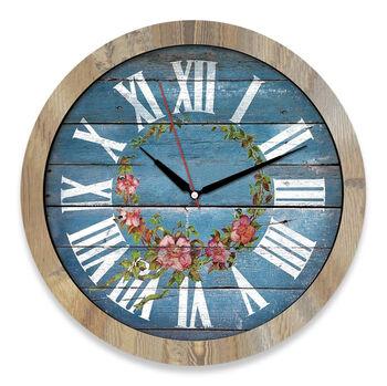 Time Gold Romen Rakamlı Çiçek Motifli Ahşap Duvar Saati 32cm